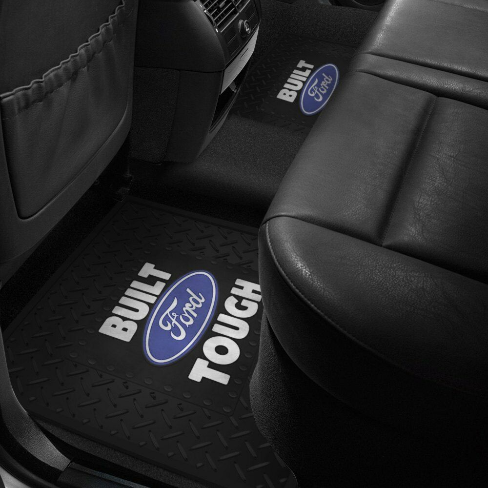 plasticolor 2nd row footwell coverage black rubber floor mat w ford tough logo 766566101017 ebay. Black Bedroom Furniture Sets. Home Design Ideas