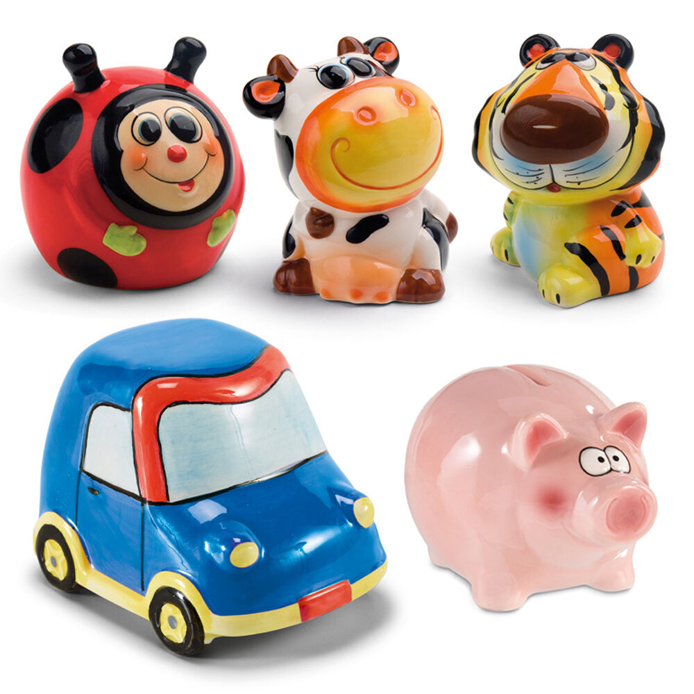 Hand Painted Ceramic Kids Animal Car Piggy Bank Money Box ...