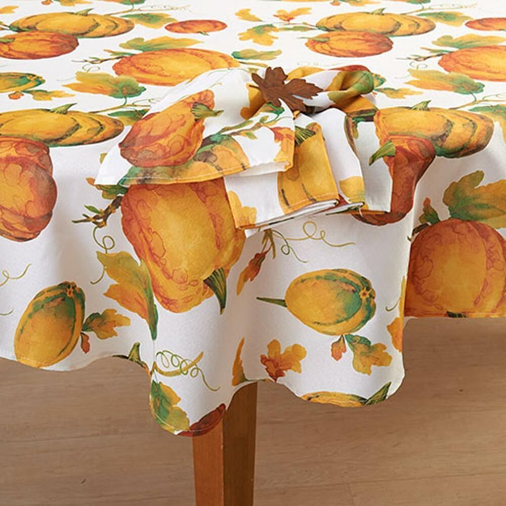 Pumpkin Patch Thanksgiving Fabric Tablecloth Fall Autumn