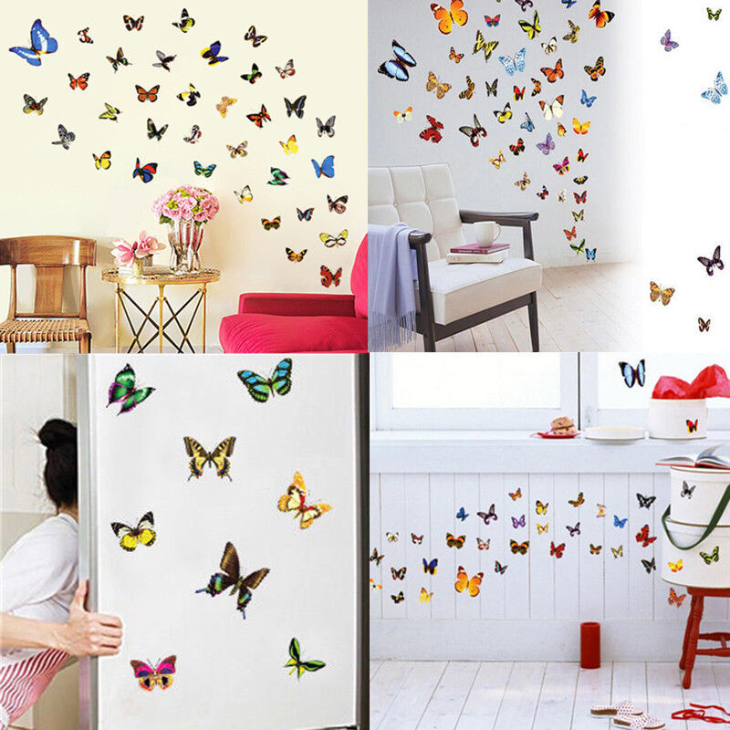 80 pcs colorful butterfly wall stickes art decals home for Home room decoration