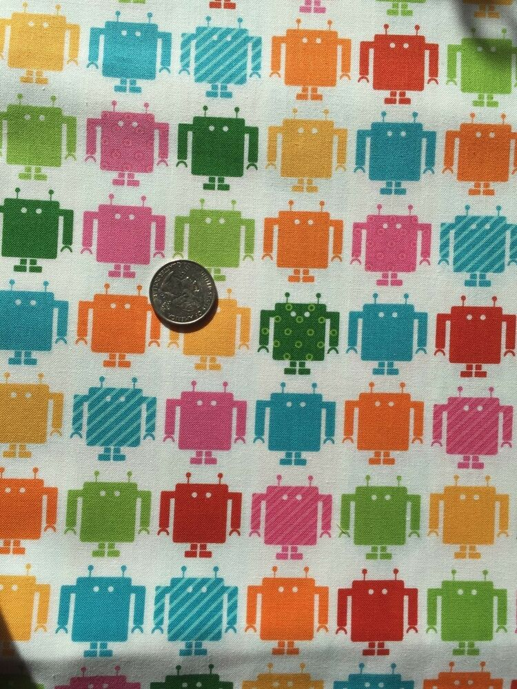 Colorful robots on white computer robot novelty quilt for Robot quilt fabric