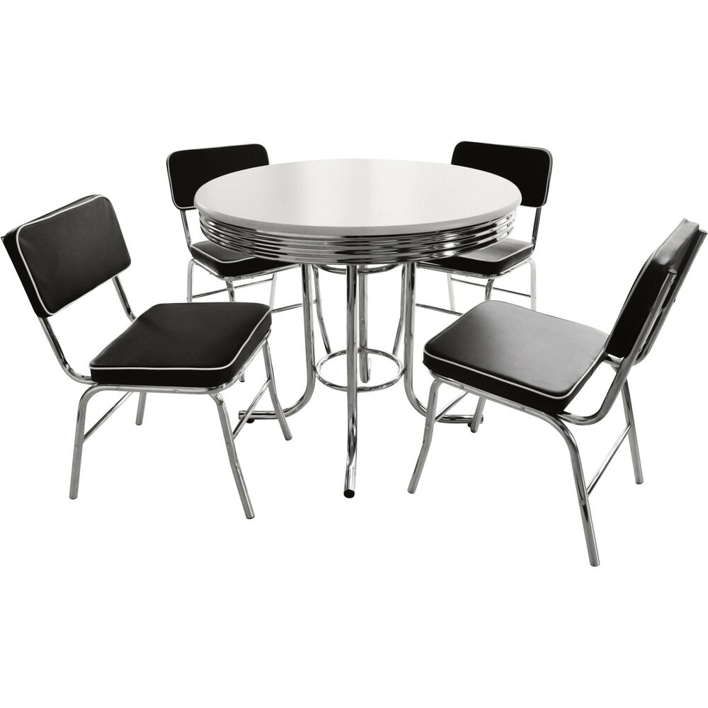 Black and white retro dining table and chairs set ebay for Black and white dining set