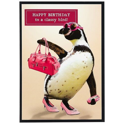 Funny Humour Happy Birthday Greeting Card Penguin To A