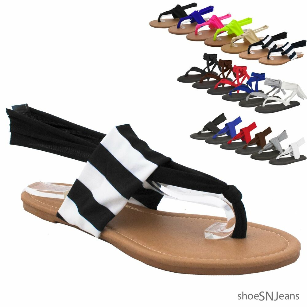 New Women Flip Flops Gladiator Lace Up Yoga Shoes Thong