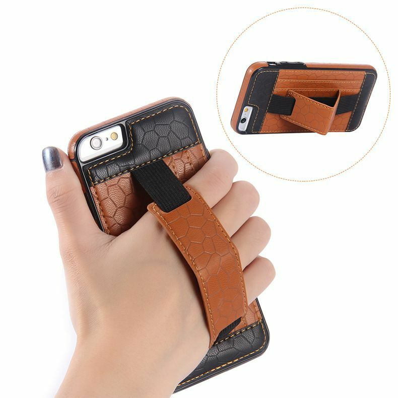 Wallet Card Slot Hand Strap Holder Stand Leather phone case For iPhone Samsung | eBay