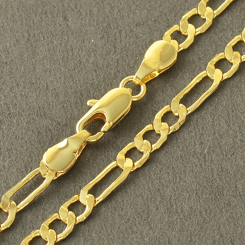 Gold Link Bracelet Womens: Classic 9K Yellow Solid Gold Filled 3-Link Womens Snake