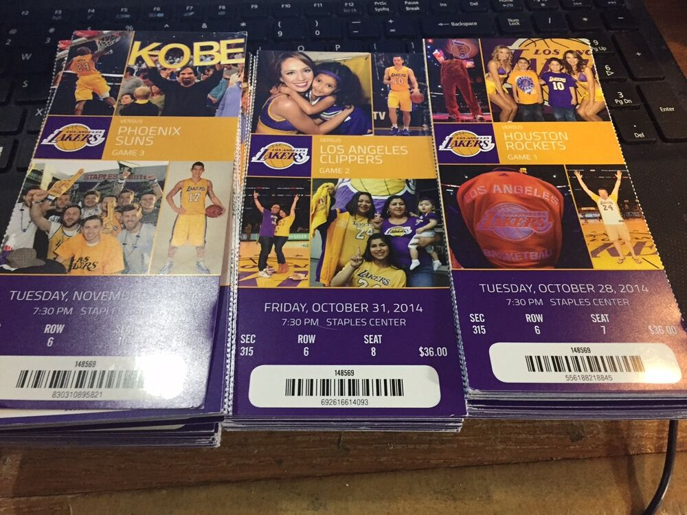 2014-15 LOS ANGELES LAKERS SEASON TICKET SET STUBS KOBE ...