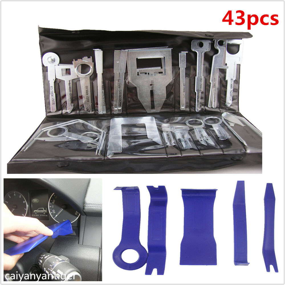 43 pcs stereo cd gps removal interior door panel kit automotive trim repair tool ebay. Black Bedroom Furniture Sets. Home Design Ideas