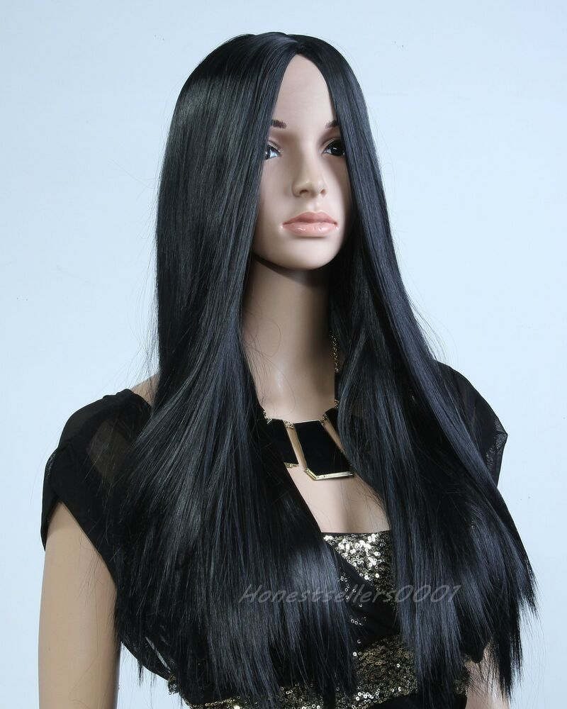 Sxey Lady Girl Long Straight Black WIG Cosplay Party Full ...