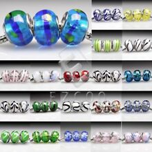 5 Large Hole Round Lampwork Glass Charm Beads Fit European Bracelet 14x14mm