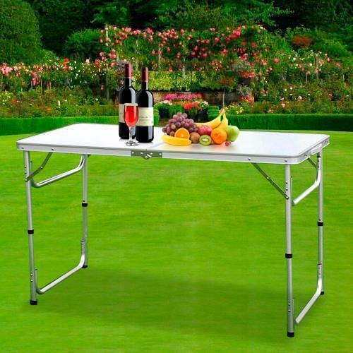 4ft white portable in outdoor camping picnic folding table - Camping table adjustable height ...