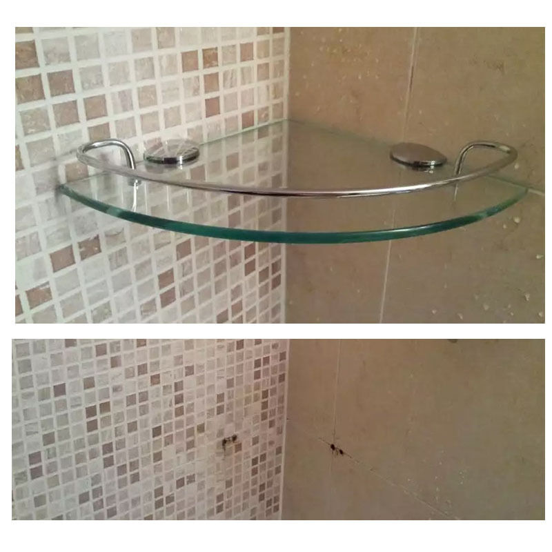 Wall mount tempered glass corner shelf bathroom shower - Bathroom glass corner shelves shower ...