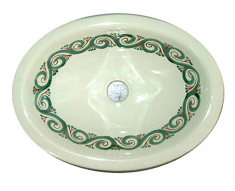 079 Small 16x11 5 Mexican Bathroom Sink Ceramic Drop In Undermount Basin Ebay
