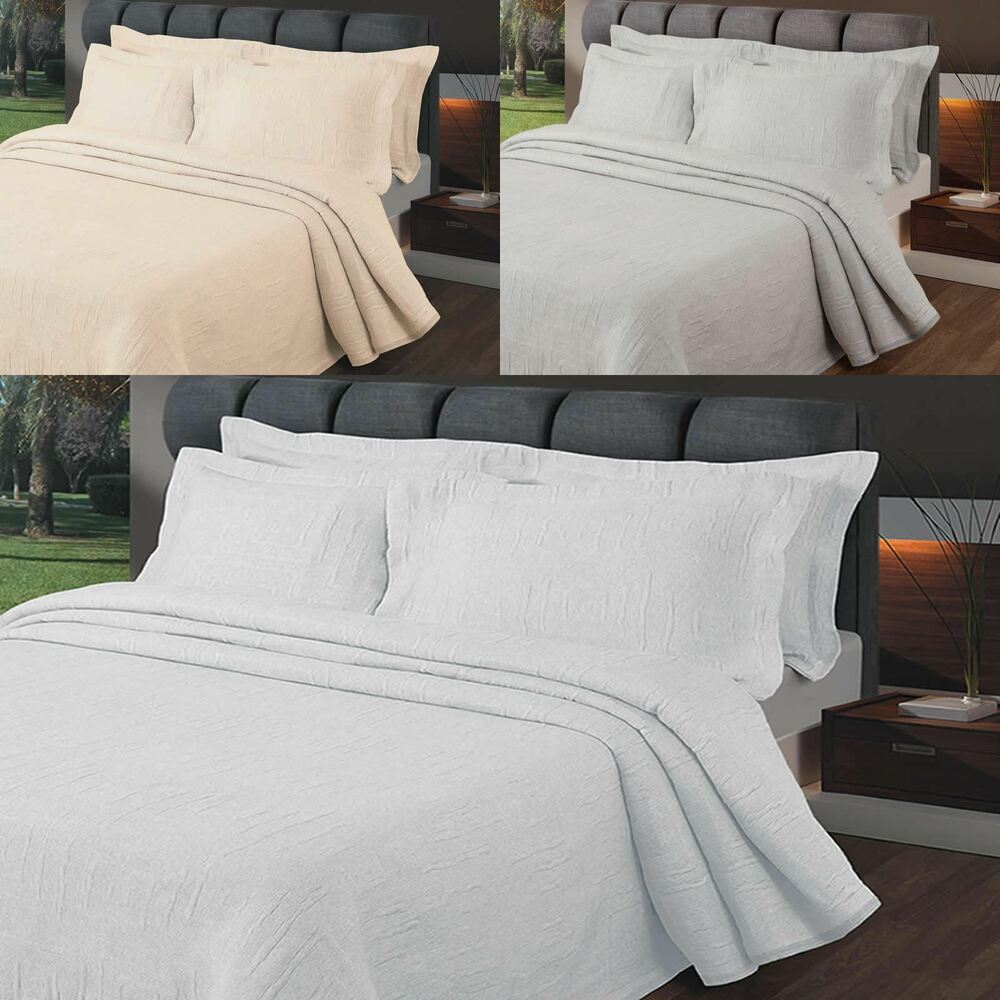 LISBON LUXURY EMBROIDERED BEDSPREAD BED BLANKET CREAM