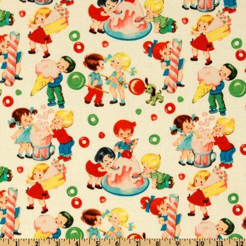 Michael miller retro fabric candy shop 100 cotton by for Retro kids fabric