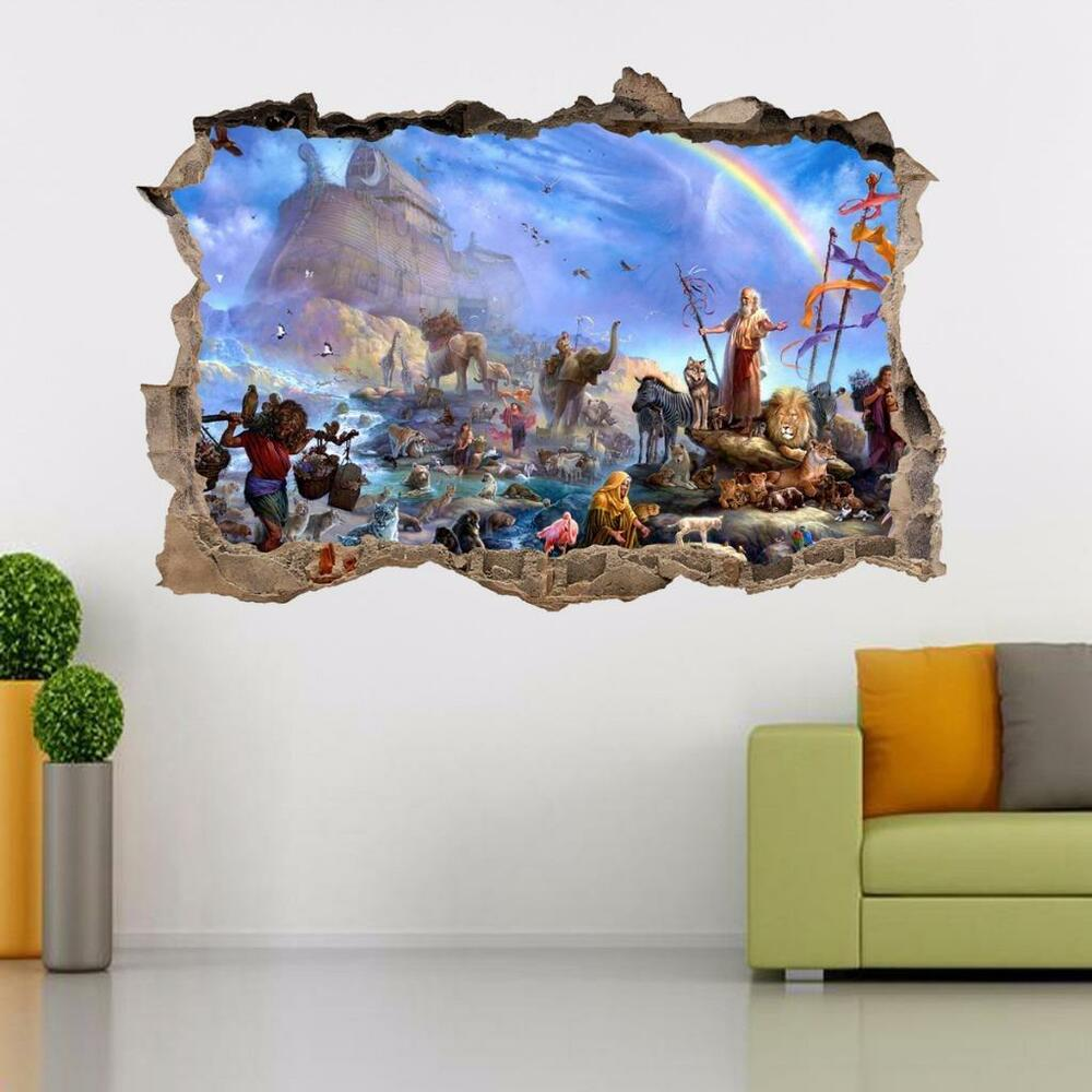 Noah 39 S Ark Smashed Wall Decal Graphic Wall Sticker Home Decor Art Animals H394 Ebay