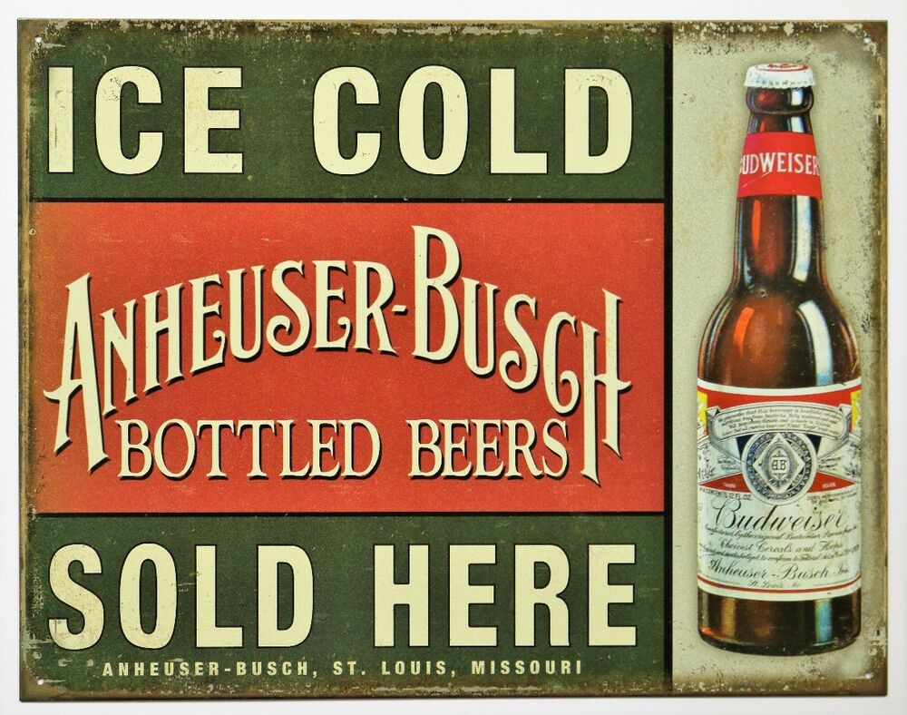 Ice cold anheuser busch beer sold here tin metal sign budweiser vintage style ad ebay - Budweiser beer pictures ...