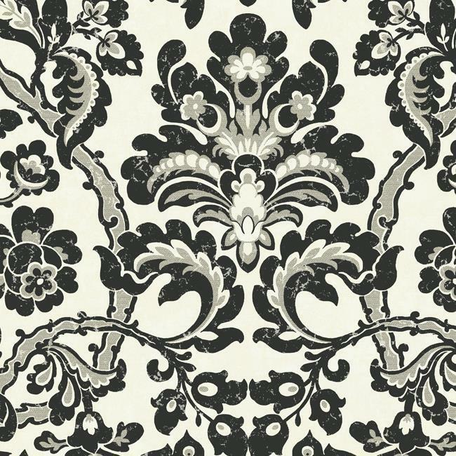 Wallpaper designer large modern black and silver damask on for Black white damask wallpaper mural