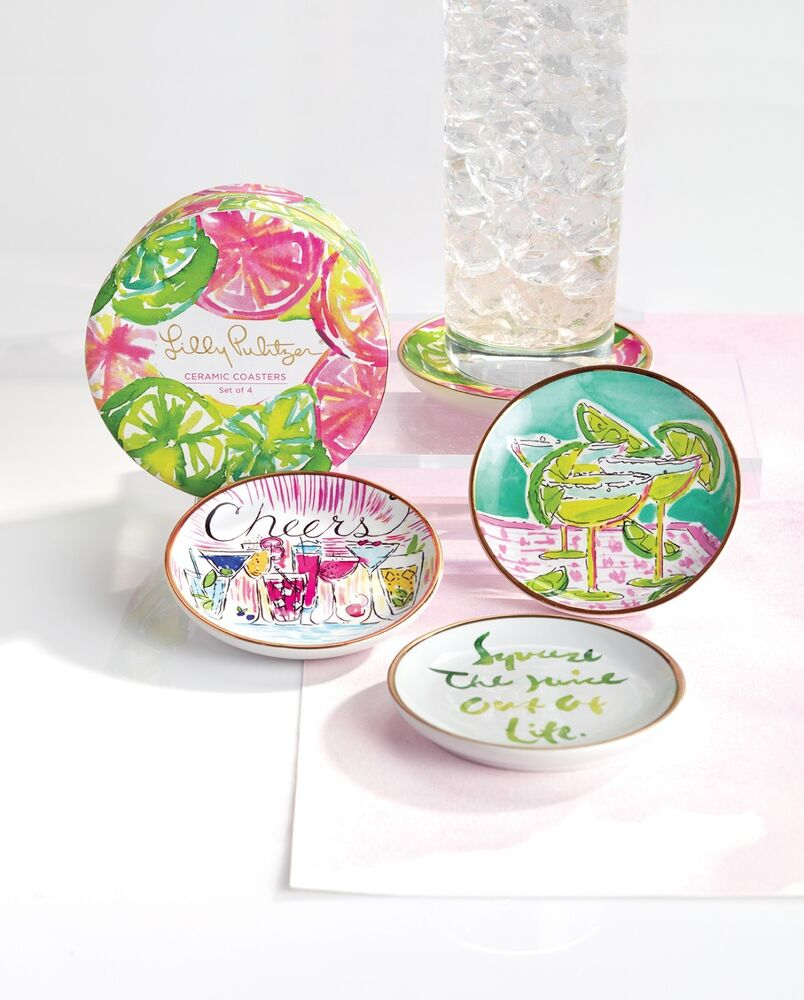 Lilly Pulitzer Ceramic Coaster Set Of 4 Cheers Cocktail