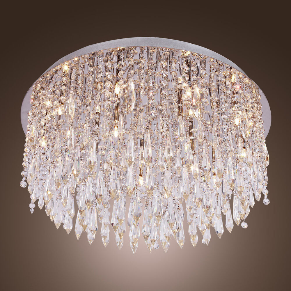 Modern beaded ceiling chandelier lighting crystal lamp light fixture flush mount ebay - Light fixtures chandeliers ...