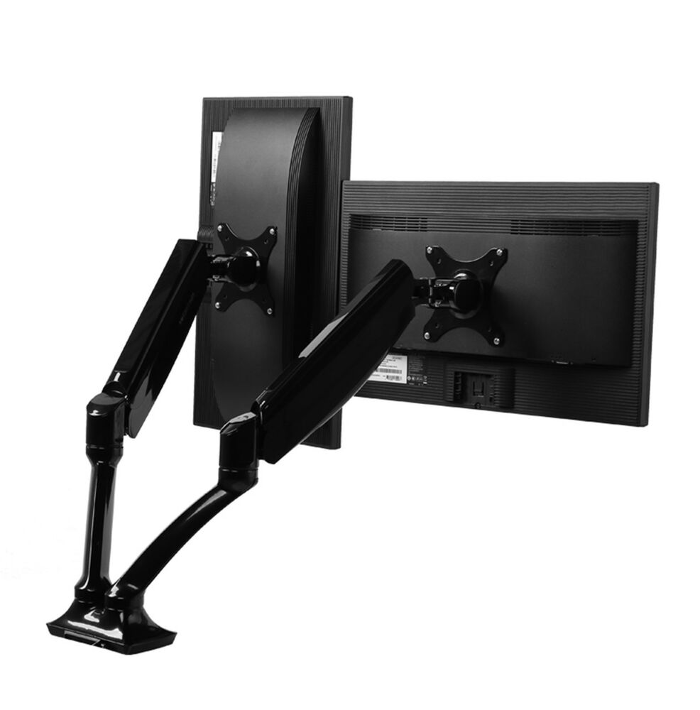 loctek dual arms lcd desk desktop computer monitor mount 2 screens for 10 27 ebay. Black Bedroom Furniture Sets. Home Design Ideas