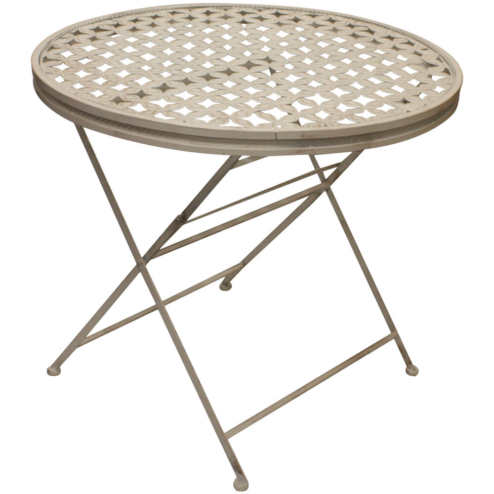 Woodside Round Folding Metal Garden Patio Dining Table