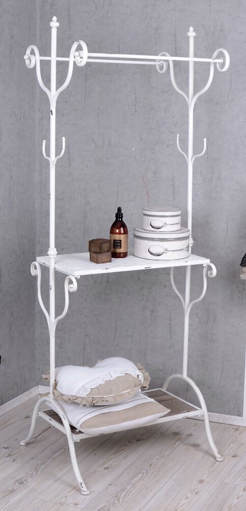 standgarderobe shabby chic garderobenst nder weiss haken garderobe ebay. Black Bedroom Furniture Sets. Home Design Ideas