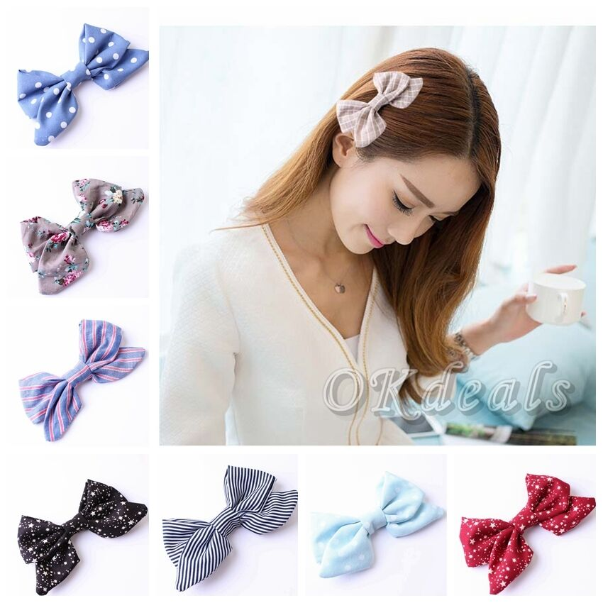 New Cute Baby Kids Women Best Cotton Big Bow Hair Clips ...