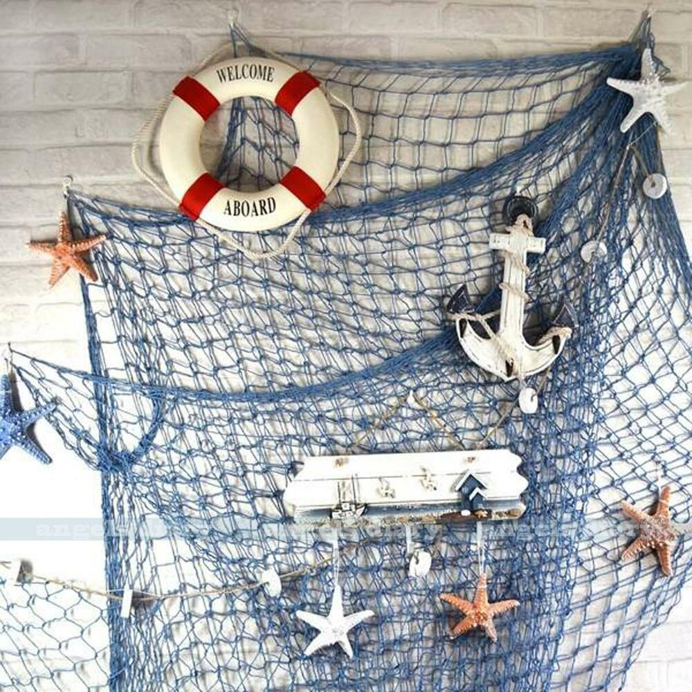 Nautical fishing net seaside wall beach party sea shells for Net decoration ideas
