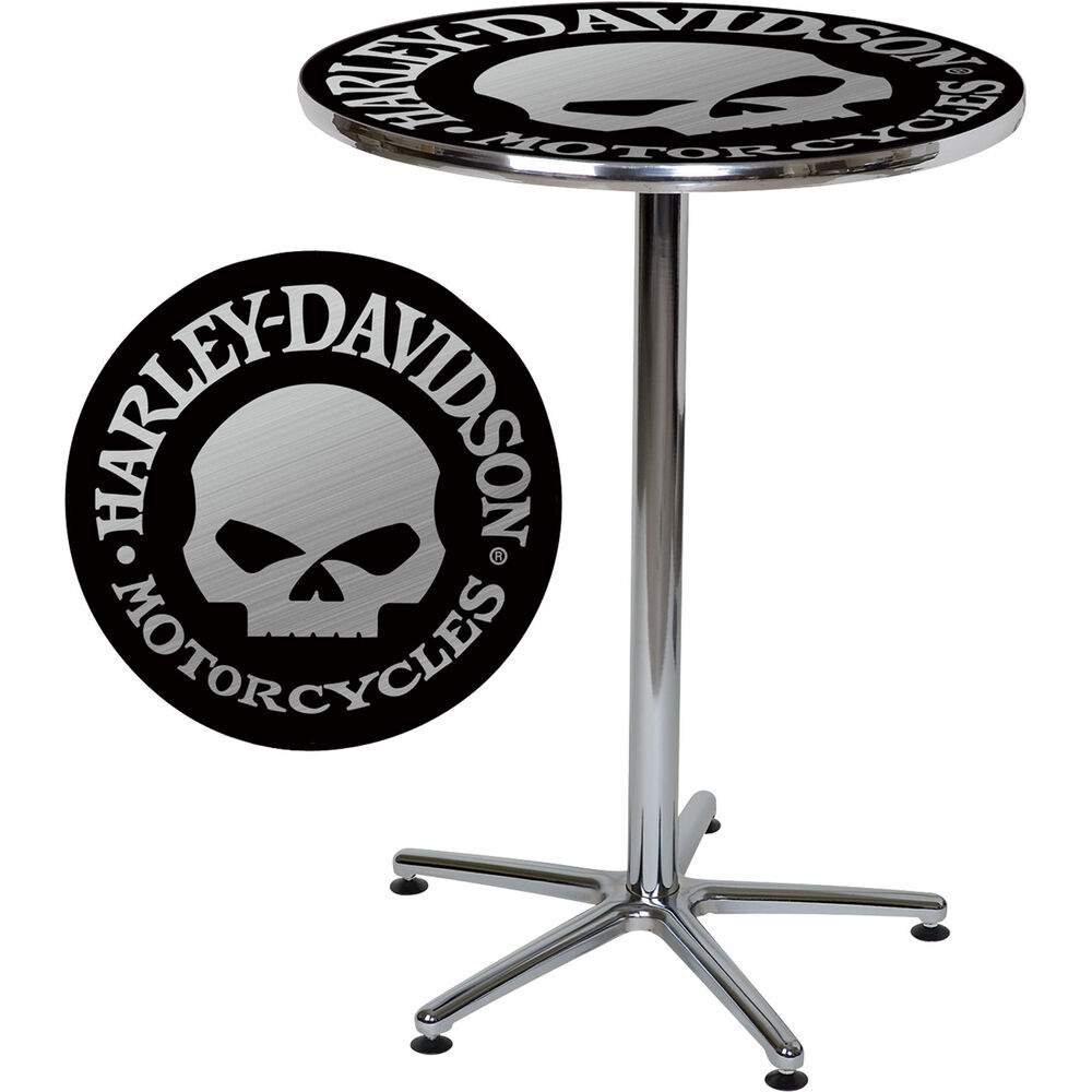 Harley-Davidson Bar Table With Skull Design - Black