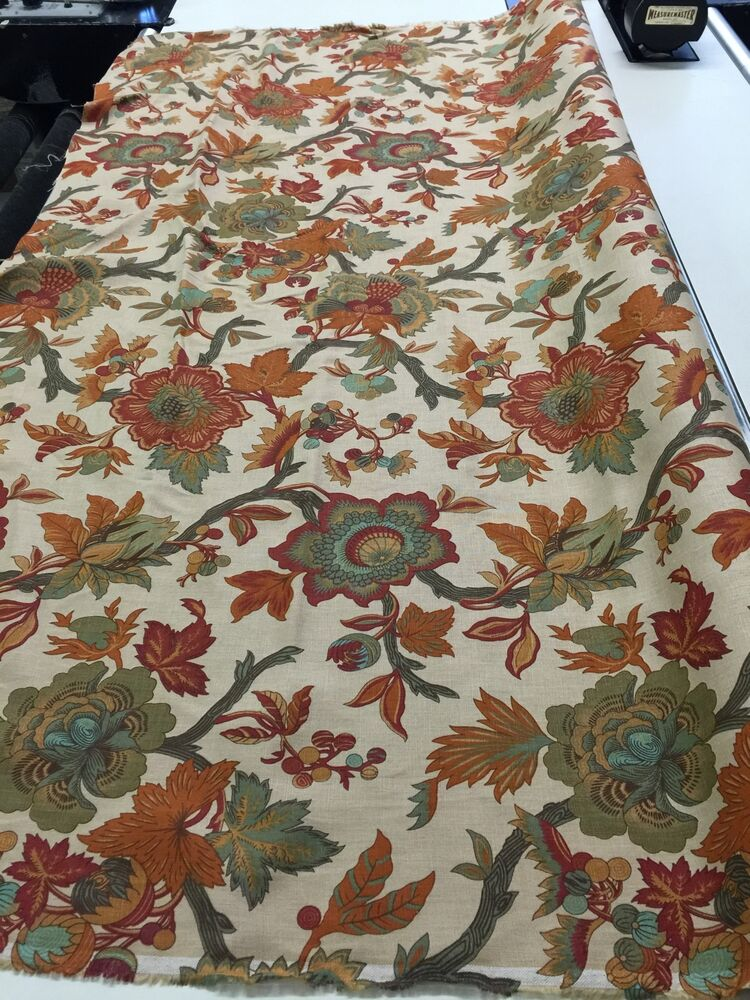 Floral print on linen fabric by the yard ebay for Cloth by the yard