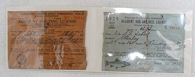 Vintage 1935 wisconsin hunting fishing license ebay for Hunting fishing license