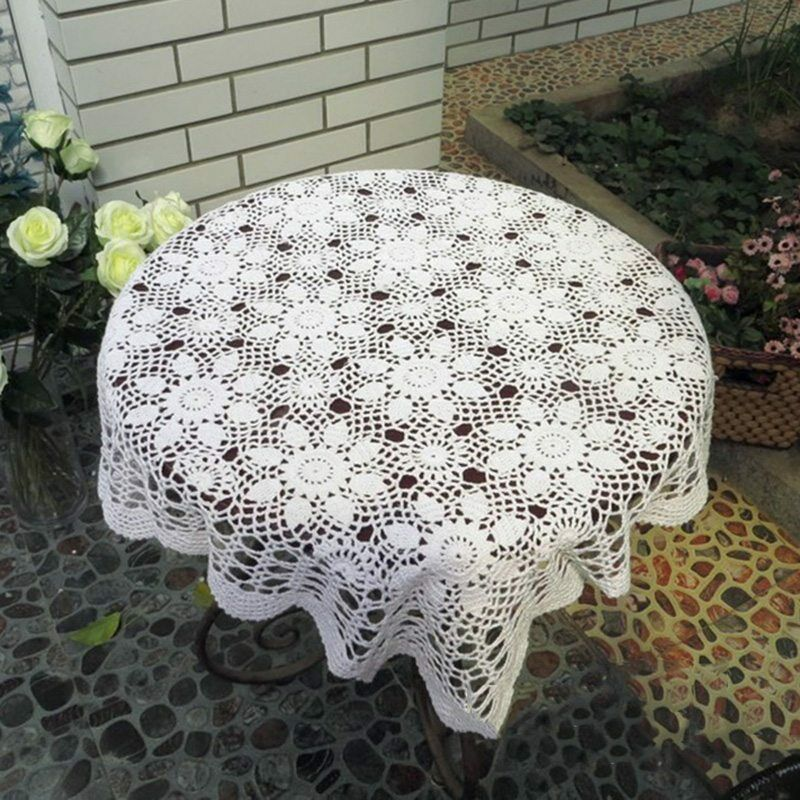 Vintage hand crochet table cover multipurpose square topper tablecloth new ebay