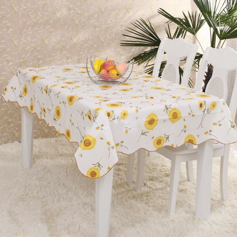 Plastic tablecloth oblong heat resistant table cover home restaurant decor new ebay - Heat resistant table cloth ...