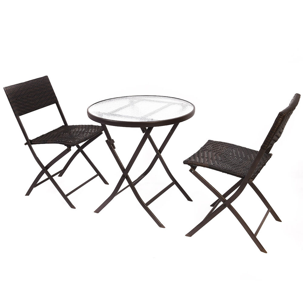 Goplus patio furniture folding 3pc table chair set bistro for Backyard table set