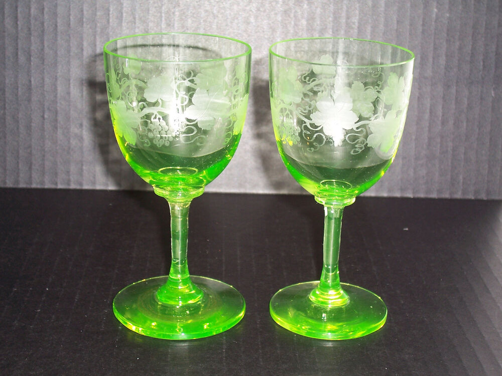2 Antique Amazing Etched Green Vaseline Wine Glasses