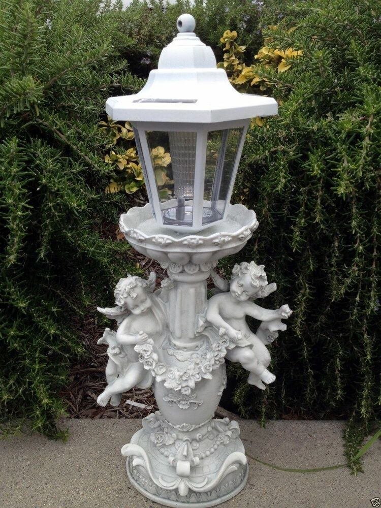 Outdoor Garden Decor Angel Cherub Sculpture Solar Light Ebay