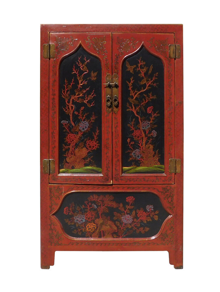 Chinese Red Black Flower Graphic Armoire Wardrobe Cabinet ...