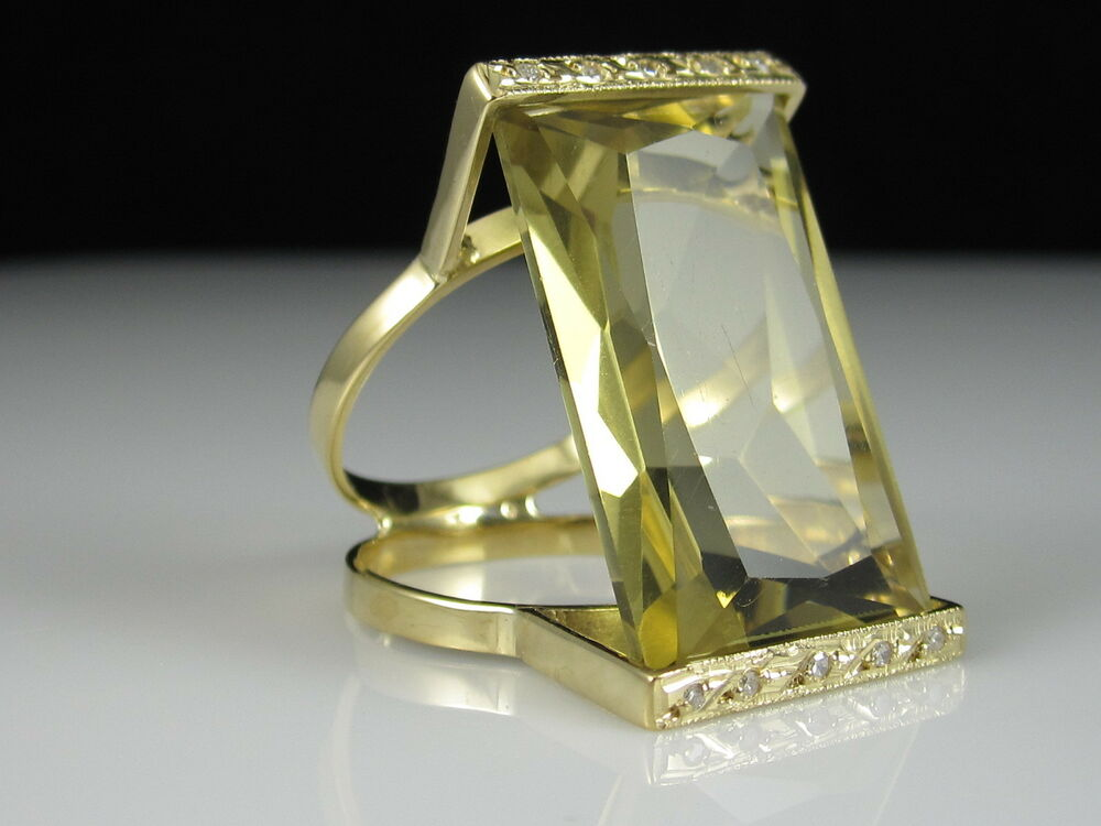 Quartz diamond ring 14k yellow gold green brown fine for What is fine jewelry