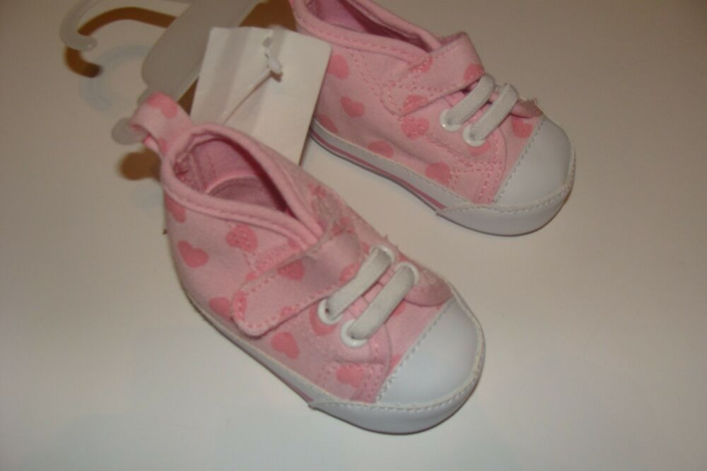 h m tennis shoes high pink hearts baby size 0