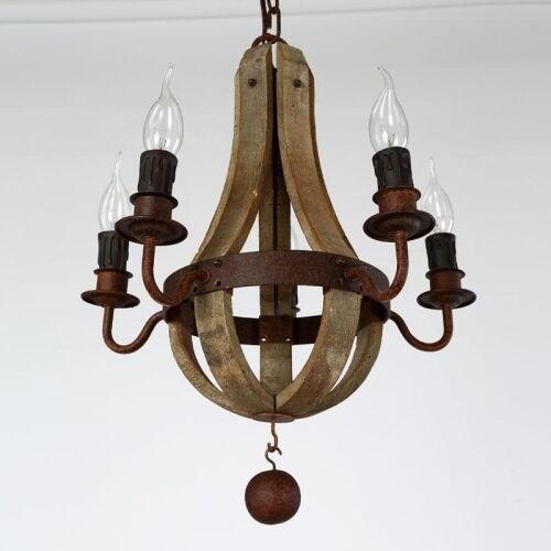 Wooden Candle Arms Ceiling Chandelier Pendant Lamp