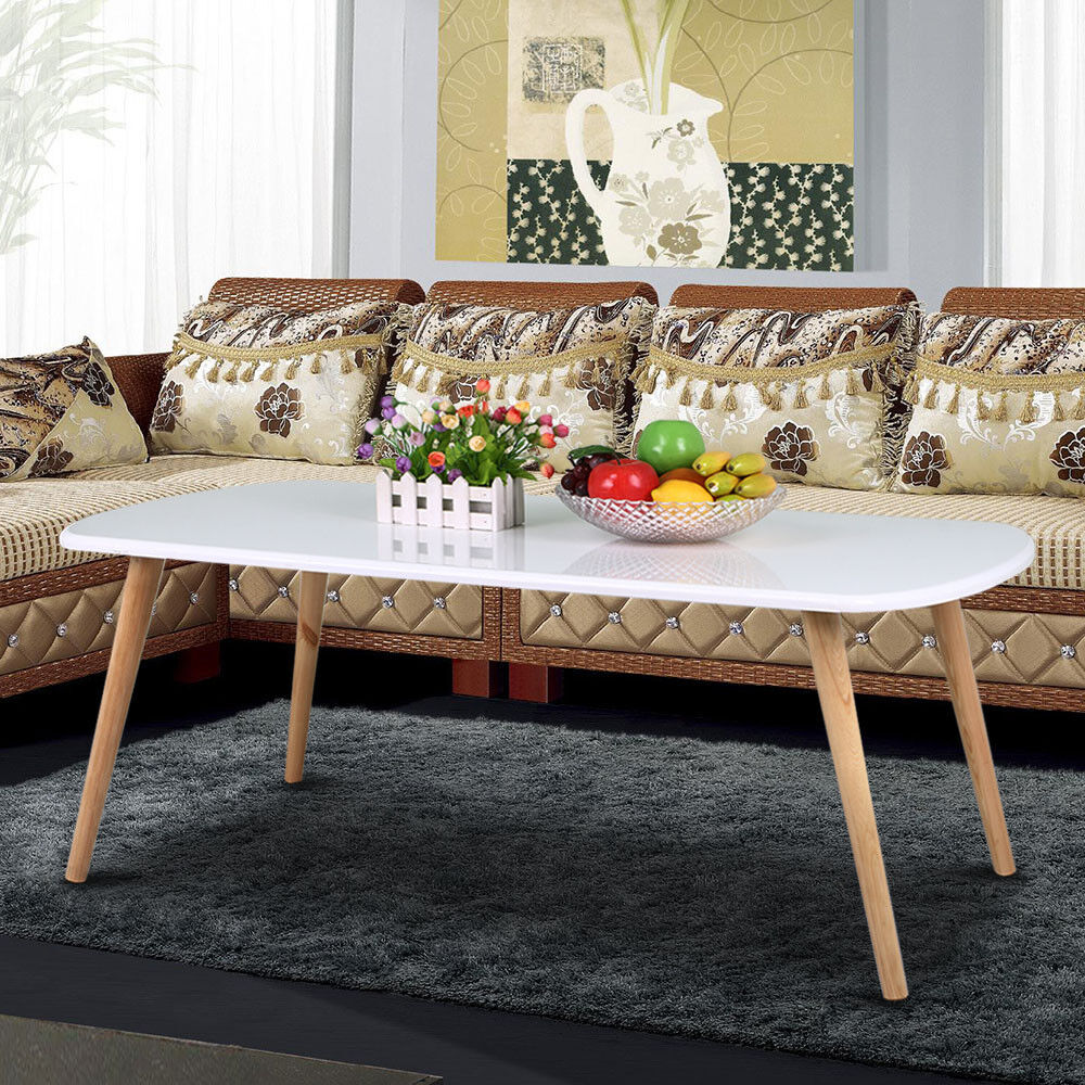 Modern pine coffee table white gloss table top natural for Coffee table white legs wood top
