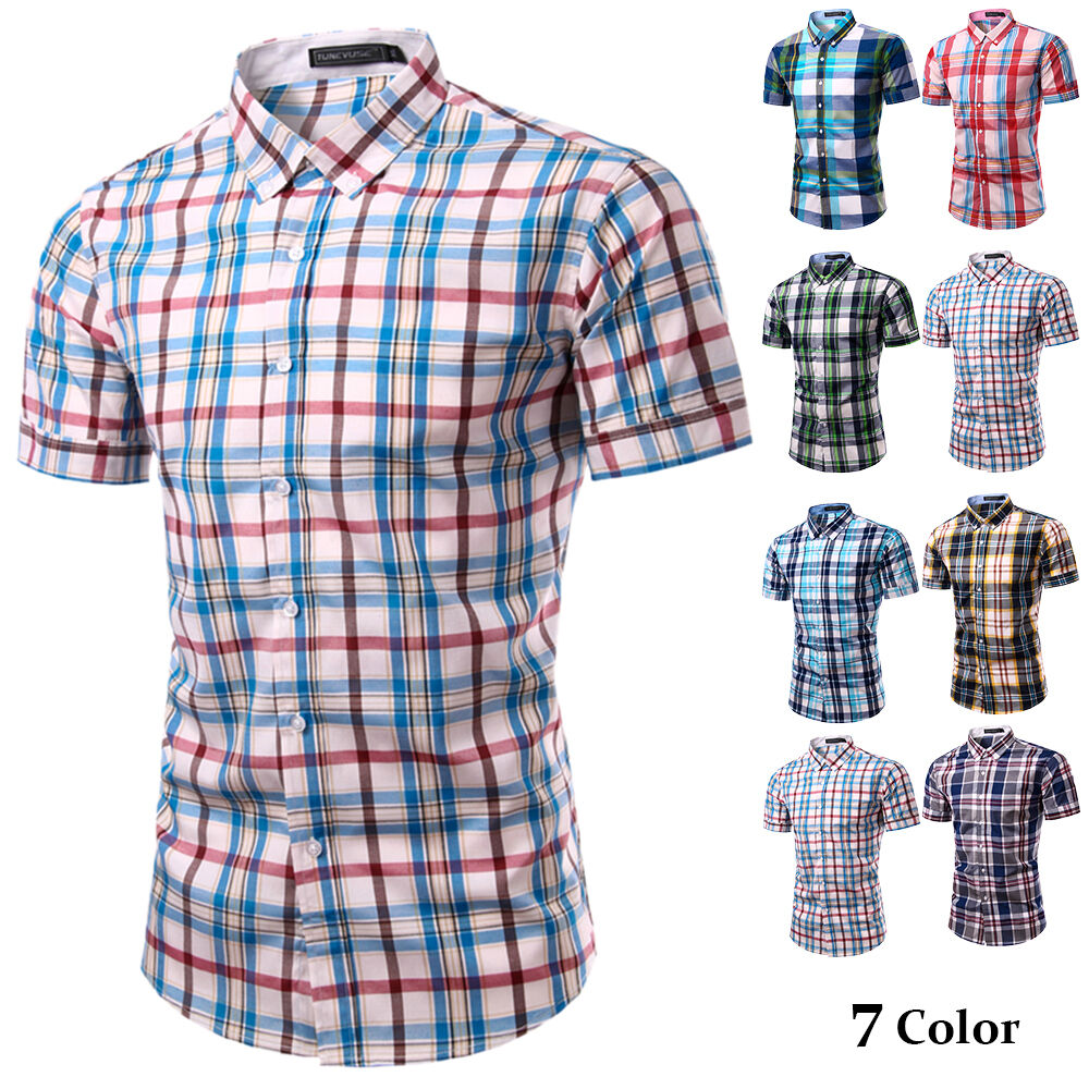Men 39 s button down collar cotton shirt short sleeve plaids for Mens button collar shirts