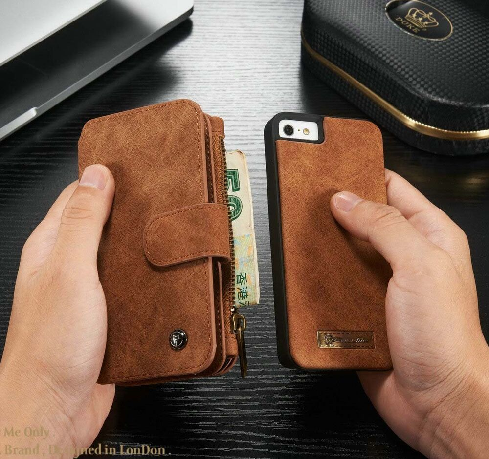 leather iphone 5 case genuine leather cover zipper wallet card 15606