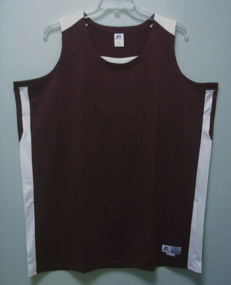 Russell athletic mens dark red white tank top shirt 2xl for Mens athletic cut shirts