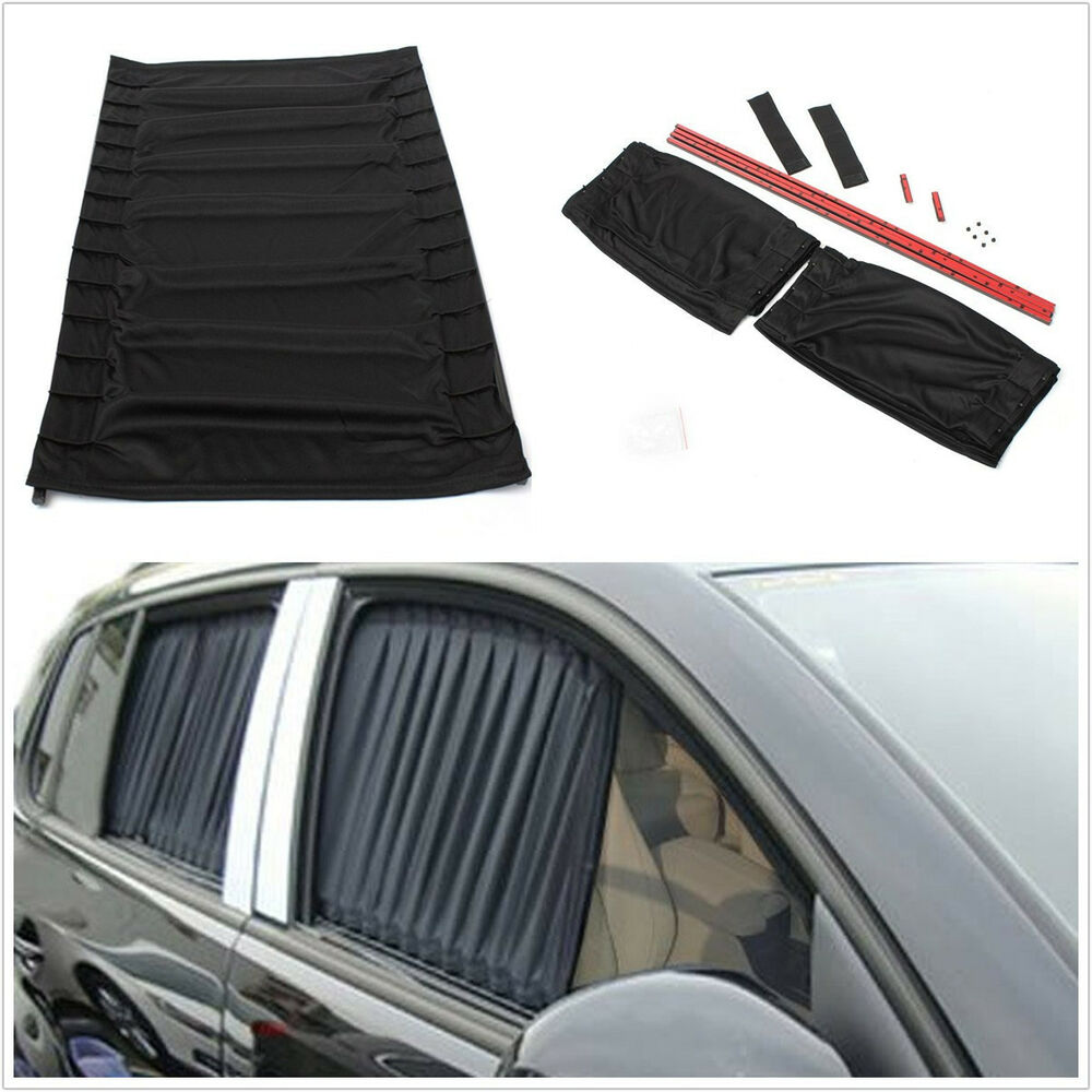 one pair black car suv interior window windscreen anti uv mesh sunshade curtain ebay. Black Bedroom Furniture Sets. Home Design Ideas