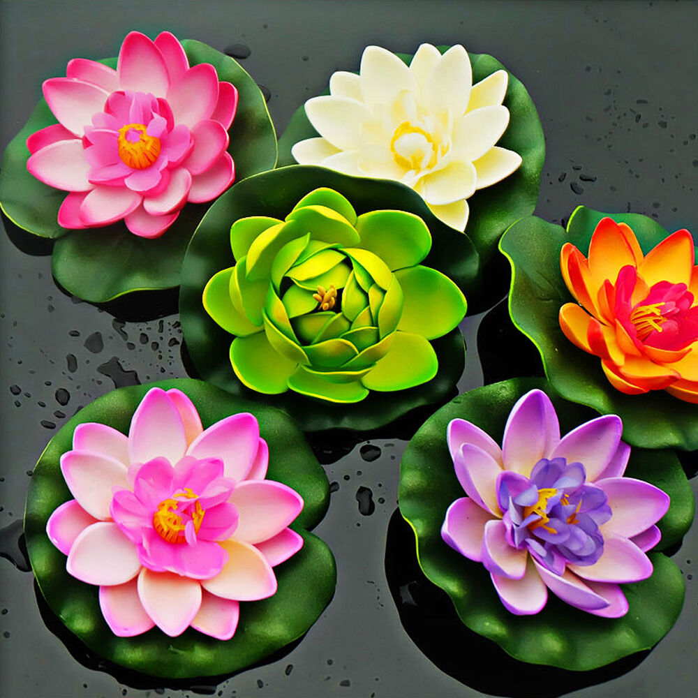 Artifical Lotus Water Lily Floating Flower Plant Garden