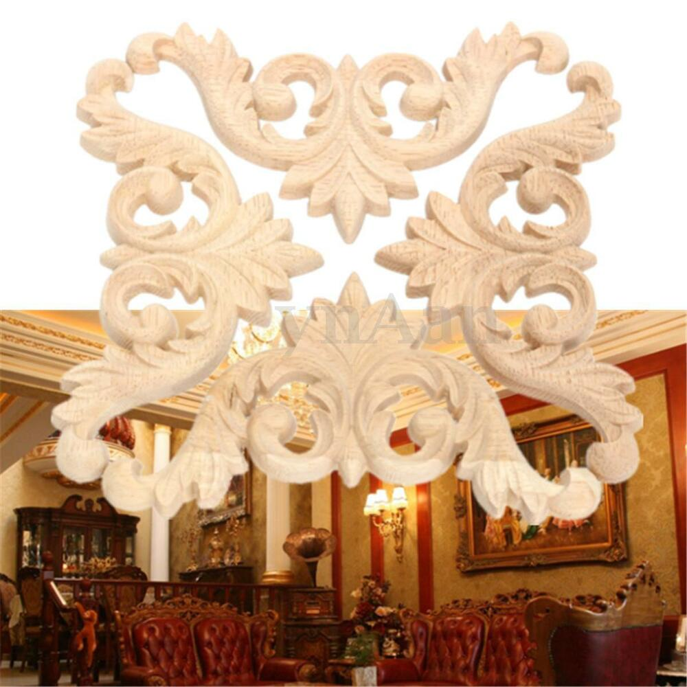 1pc wood carved corner onlay applique unpainted furniture for Applique furniture decoration