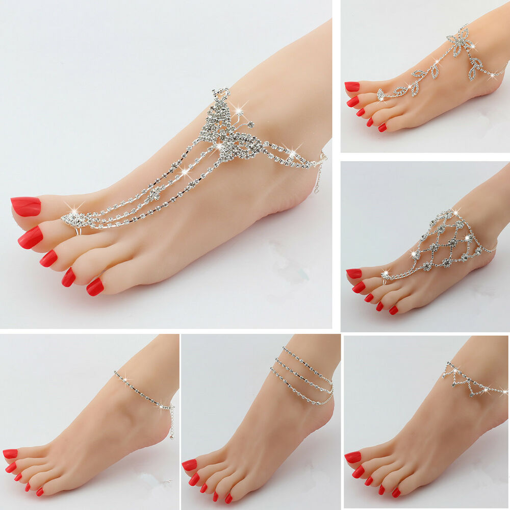Sexy Women Beach Crystal Barefoot Sandals Foot Toe Ring ...
