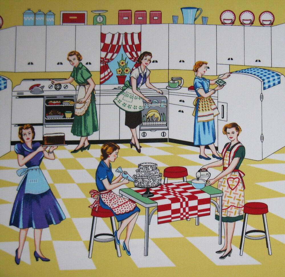 Kitchen Fabric: Home Ec Retro Fabric By Michael Miller- 50's Kitchen